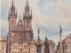 View of the Old Town Square with the Church in Prague They – Rudolf von Alt
