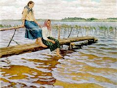 Waiting for the Ferry – Nikolay Bogdanov-Belsky