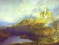 Warkworth Castle, Northumberland; Thunderstorm Approaching at Sunset — William Turner