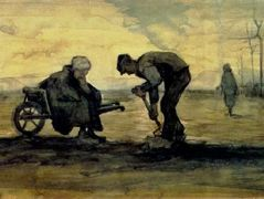 Weed Burner, Sitting on a Wheelbarrow with his Wife – Vincent van Gogh