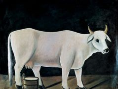 White cow on a black background – Niko Pirosmani