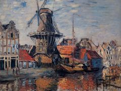 Windmill on the Onbekende Canal, Amsterdam – Claude Monet