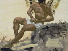 Winged spirit buttoning his underpants  — Yiannis Tsaroychis