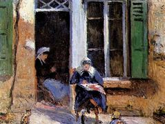 Woman and Child Doing Needlework – Camille Pissarro