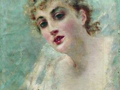 Woman Head (Portrait of E.Kovaliova) – Konstantin Makovsky