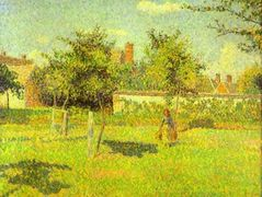 Woman in an Orchard, Spring Sunshine in a Field, Eragny – Camille Pissarro