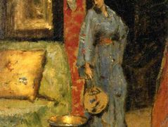 Woman in Kimono Holding a Japanese Fan — William Merritt Chase