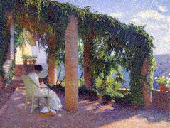 Woman Sewing on a Veranda – Henri Martin