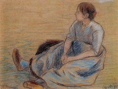 Woman Sitting on the Floor – Camille Pissarro