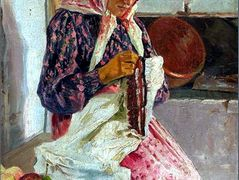 Woman Stitching the Shawl – Nikolay Bogdanov-Belsky