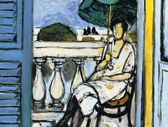 Woman with a Green Parasol on a Balcony  – Henri Matisse