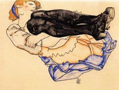 Woman with Blue Stockings – Egon Schiele