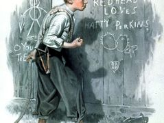 Writing on the fence – Norman Rockwell