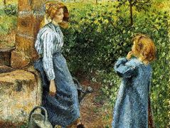 Young Woman and Child at the Well – Camille Pissarro