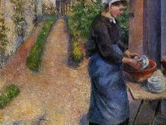 Young Woman Washing Plates – Camille Pissarro