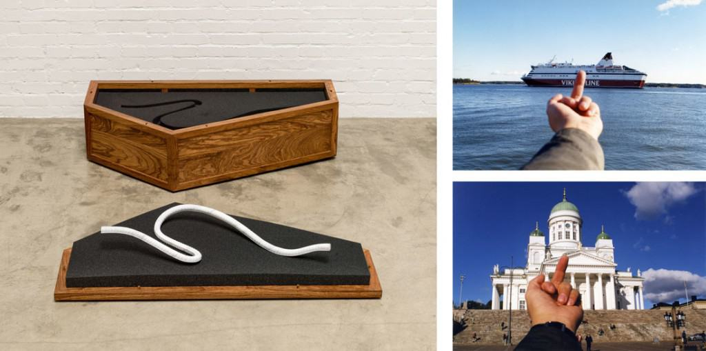 Left: Ai Weiwei, Rebar and Case, 2014. Courtesy of Ai Weiwei Studio. Right, top to bottom: Ai Weiwei, Study of Perspective, Viking Line, 2001; Ai Weiwei, Study of Perspective, Helsinki Cathedral, 2001. © Ai Weiwei, images courtesy of HAM Helsinki.