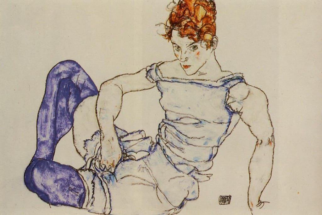 Egon Schiele. Seated Woman in Violet Stockings (1917).