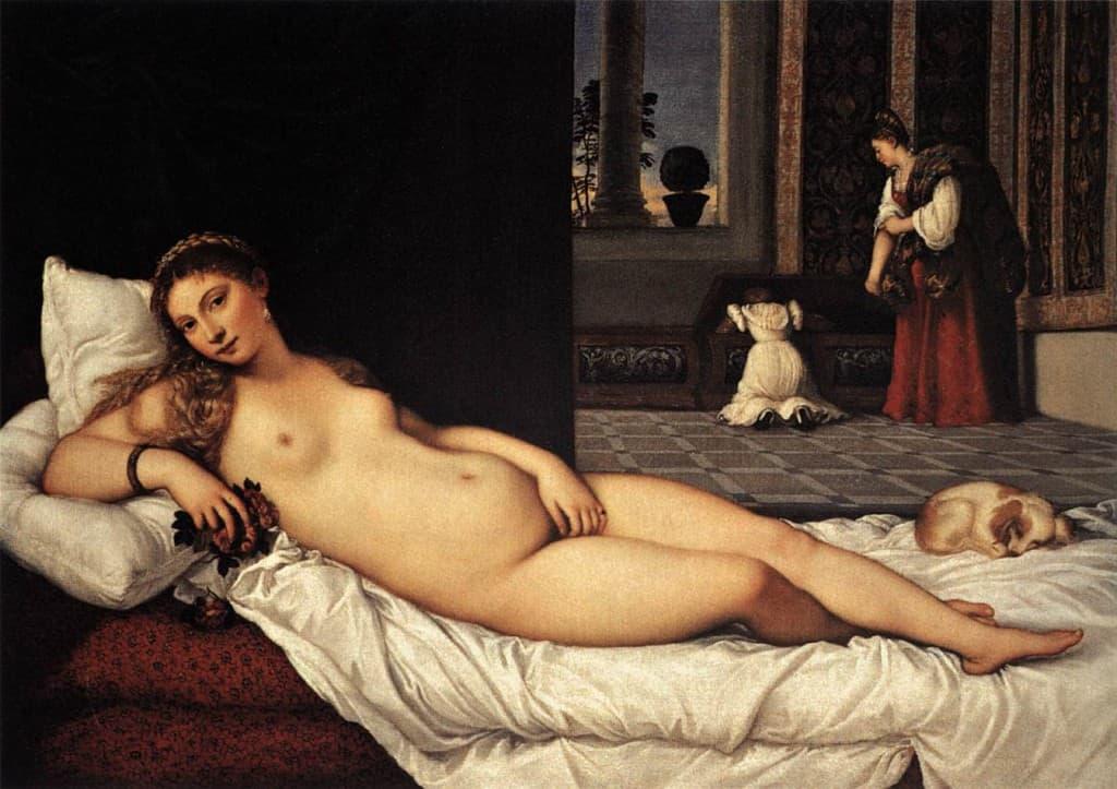 The Venus of Urbino. 1538 Oil on canvas.  119×165 cm Uffizi, Florence