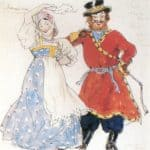 A coachman and a nurse.Costume design – Alexandre Benois