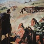 A meeting Pushkin with carriage, carrying the body of Griboyedov – Martiros Saryan