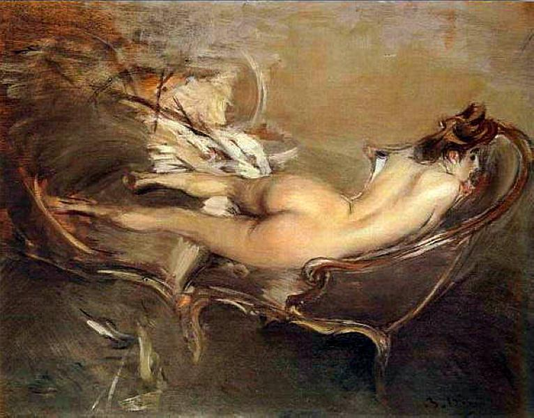 A Reclining Nude On a Day-Bed - Giovanni Boldini