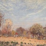 Apple Trees in Flower, Spring Morning (Pommiers en Fleurs Louveciennes) – Alfred Sisley