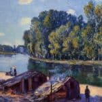 Cabins along the Loing Canal, Sunlight Effect – Alfred Sisley