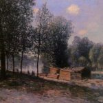 Cabins by the River Loing, Morning – Alfred Sisley