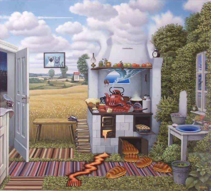 Confusion In The Kitchen - Jacek Yerka