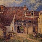 Courtyard of a Farm at Saint Mammes – Alfred Sisley