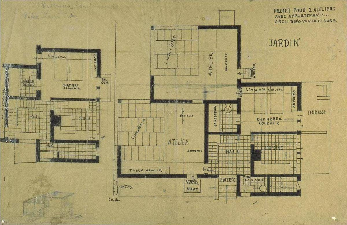Double Studio Apartment Design, Plans and Axonometry - Theo Van Doesburg