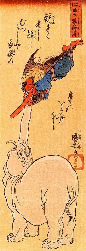 Elephant Catching A Flying Tengu – Utagawa Kuniyoshi