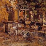 Farmyard with Donkeys and Roosters – Adolphe Joseph Thomas Monticelli