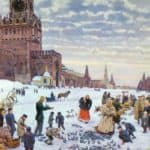 Feeding pigeons in Red Square in the years 1890-1900 – Konstantin Yuon