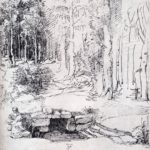 Forest Glade With A Walled Fountain By Which Two Men Are Sitting – Albrecht Durer
