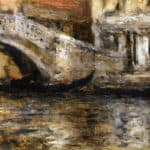 Gondolas along Venetian Canal (aka Gondola in Venice) – William Merritt Chase