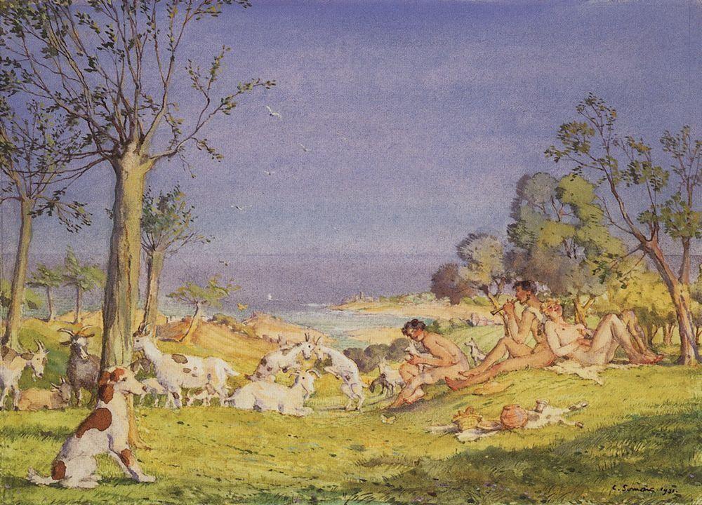 Illustration To The Novel Daphnis and Chloe 1 - Konstantin Somov