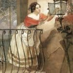 Italian Woman Lightning a Lamp in front of the Image of Madonna – Karl Bryullov