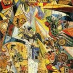 Landscape with a Carriage and a Mill (a landscape from four points of view) – David Burliuk
