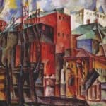 Landscape with dry trees and tall buildings – Aristarkh Lentulov