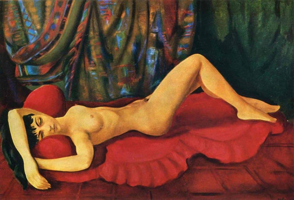 Large Nude Josan On Red Couch - Moise Kisling