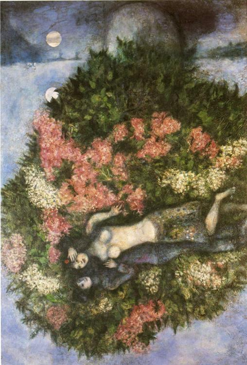 Lovers In The Lilacs - Marc Chagall