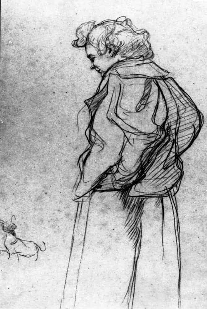 Madame Palmyre With Her Dog - Henri de Toulouse-Lautrec