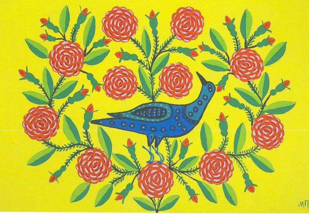 Magpie in Roses - Maria Primachenko