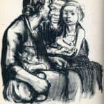 Two Chatting Women with Two Children – Kathe Kollwitz