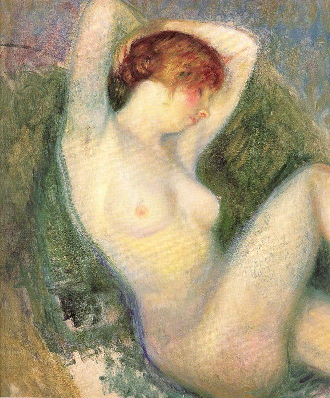 Nude In Green Chair - William James Glackens