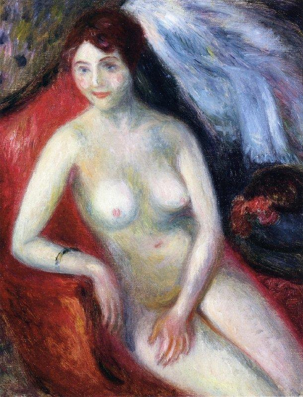 Nude On A Red Sofa - William James Glackens