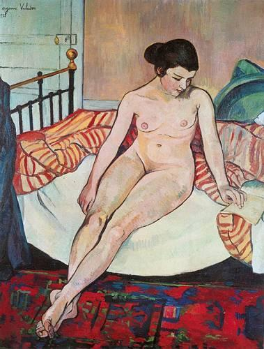 Nude With a Striped Blanket - Suzanne Valadon