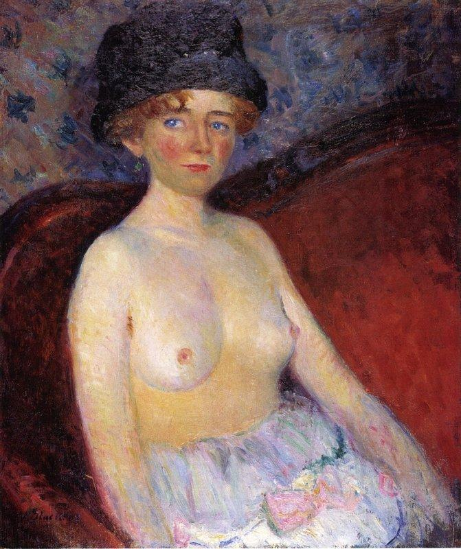 Nude With Hat - William James Glackens