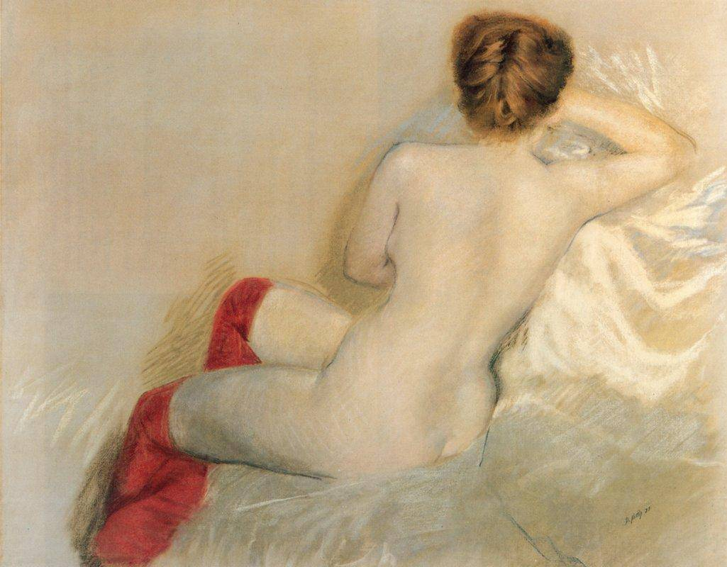 Nude with Red Stockings – Giuseppe de Nittis